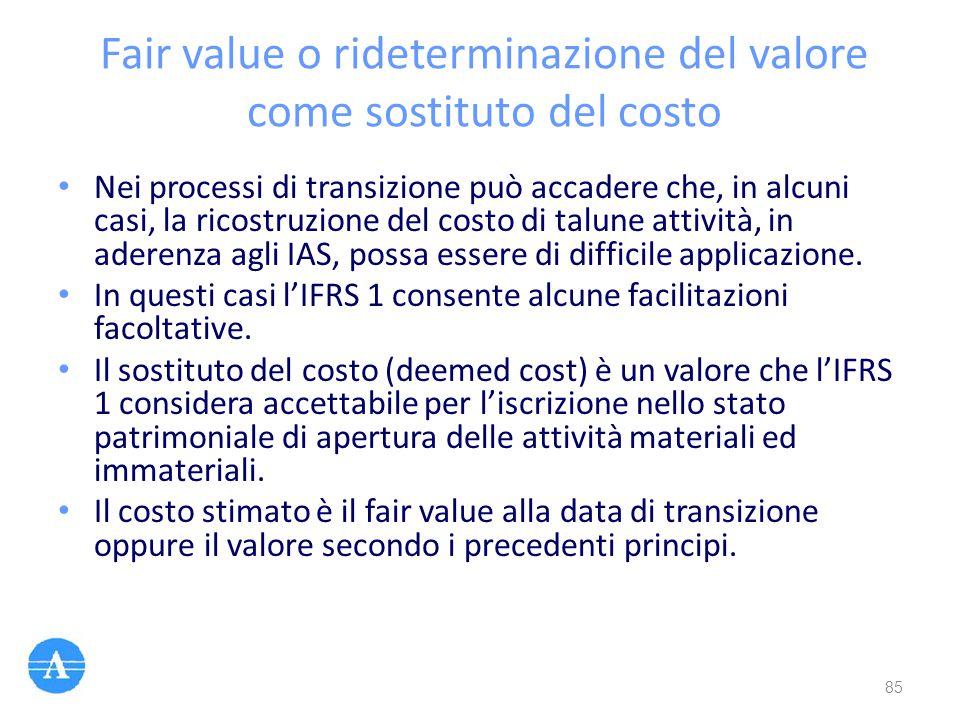 Fair value o rideterminazione del valore come sostituto del costo Nei processi di transizione può accadere che, in alcuni casi, la ricostruzione del c