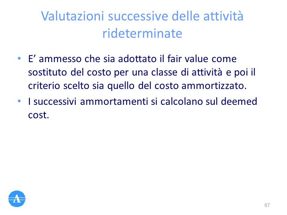 Valutazioni successive delle attività rideterminate E' ammesso che sia adottato il fair value come sostituto del costo per una classe di attività e po