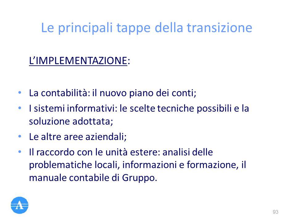 Le principali tappe della transizione L'IMPLEMENTAZIONE: La contabilità: il nuovo piano dei conti; I sistemi informativi: le scelte tecniche possibili