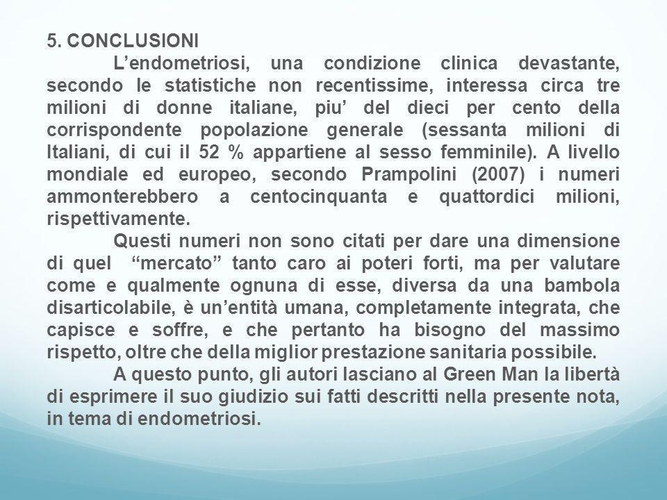 5. CONCLUSIONI L'endometriosi, una condizione clinica devastante, secondo le statistiche non recentissime, interessa circa tre milioni di donne italia