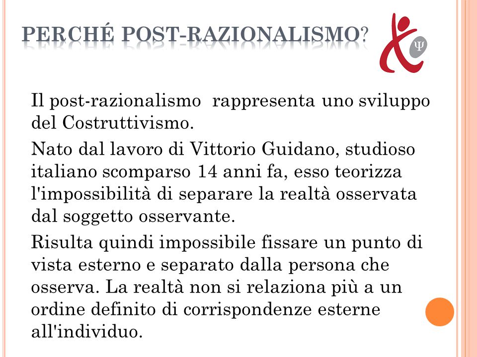 Il post-razionalismo rappresenta uno sviluppo del Costruttivismo. Nato dal lavoro di Vittorio Guidano, studioso italiano scomparso 14 anni fa, esso te