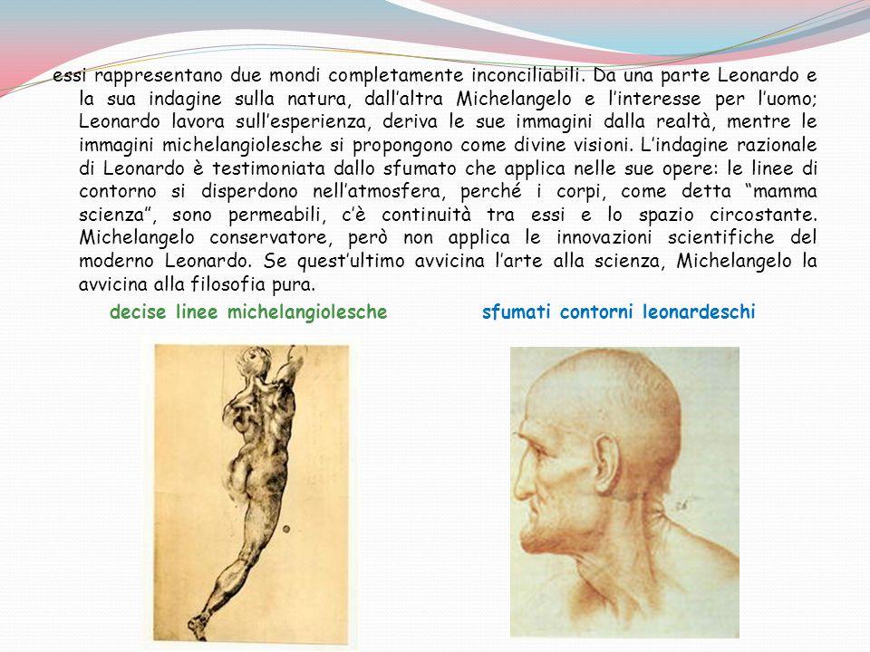 essi rappresentano due mondi completamente inconciliabili. Da una parte Leonardo e la sua indagine sulla natura, dall'altra Michelangelo e l'interesse