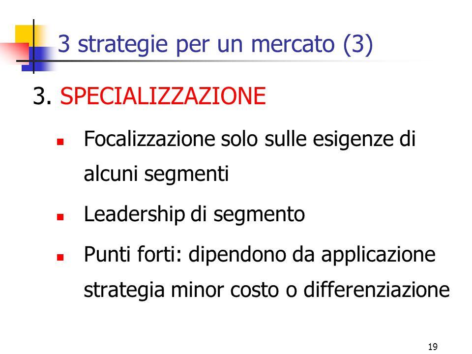 18 3 strategie per un mercato (2) 2. DIFFERENZIAZIONE Prodotti e marketing differenziato Leadership di settore Punti forti: ricerca; progettazione, qu