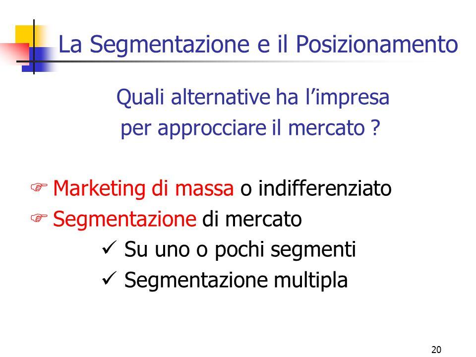 19 3 strategie per un mercato (3) 3. SPECIALIZZAZIONE Focalizzazione solo sulle esigenze di alcuni segmenti Leadership di segmento Punti forti: dipend