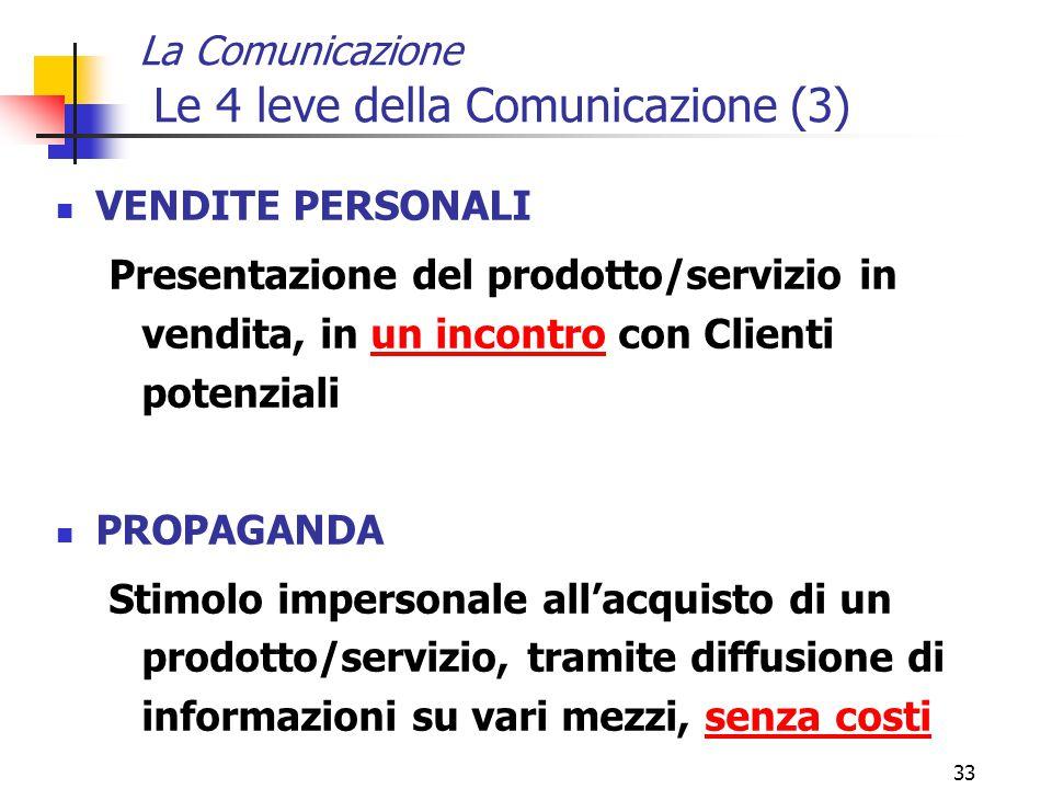 32 La Comunicazione Le 4 leve della Comunicazione (2) PUBBLICITA' Qualsiasi forma di presentazione impersonale di idee, beni o servizi da parte di un