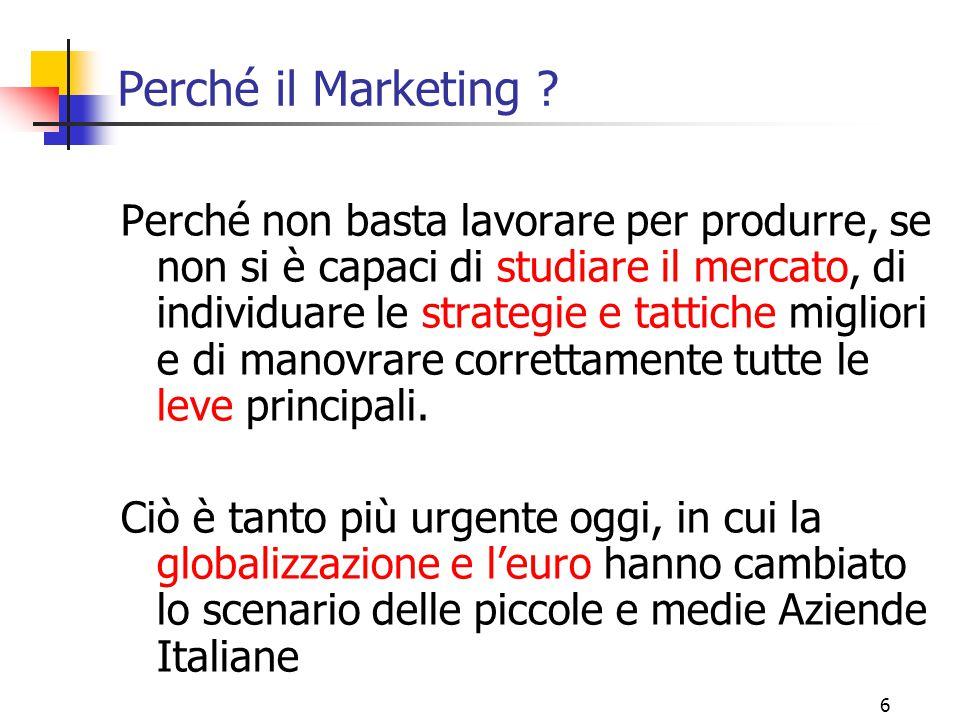 26 Le sei leve del marketing (6 P ) 1.PRODOTTO 2.PREZZO 3.POSTO (= Distribuzione) 4.PROMOZIONE 5.POST VENDITA 6. POLITICA