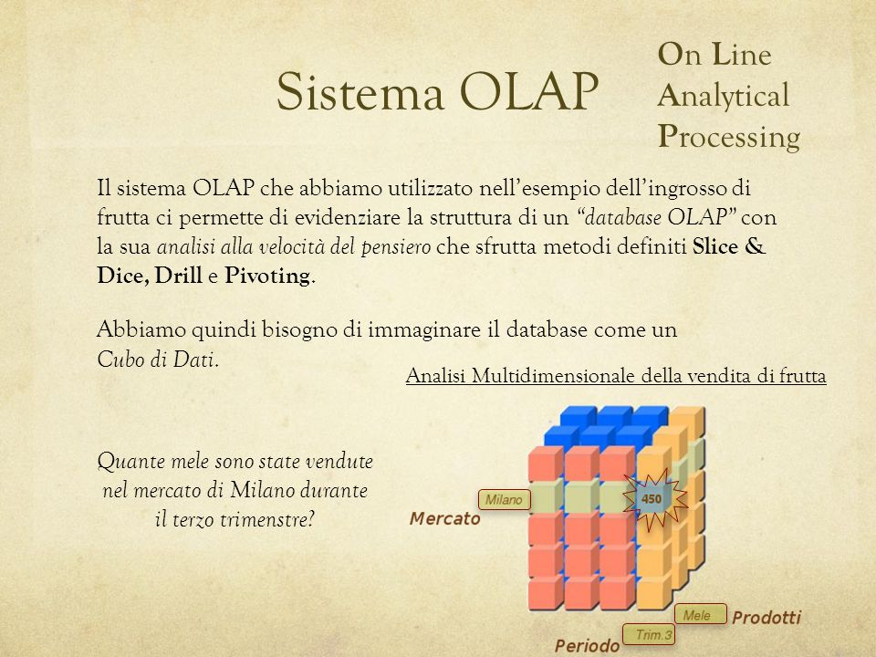 Sistema OLAP Il sistema OLAP che abbiamo utilizzato nell'esempio dell'ingrosso di frutta ci permette di evidenziare la struttura di un database OLAP con la sua analisi alla velocità del pensiero che sfrutta metodi definiti Slice & Dice, Drill e Pivoting.