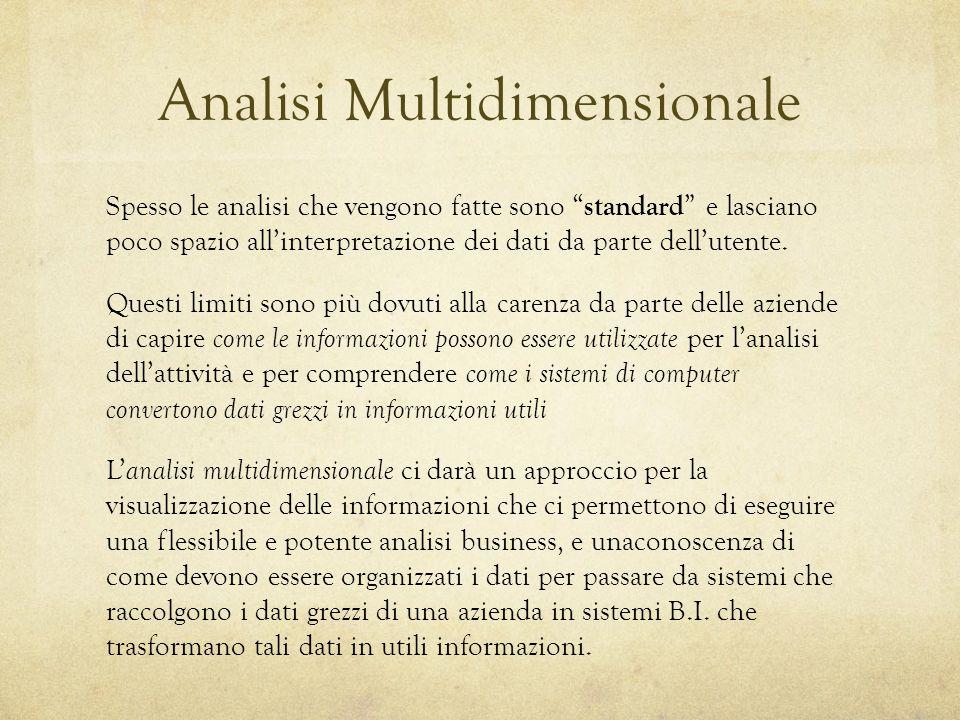 Analisi Multidimensionale Spesso le analisi che vengono fatte sono standard e lasciano poco spazio all'interpretazione dei dati da parte dell'utente.