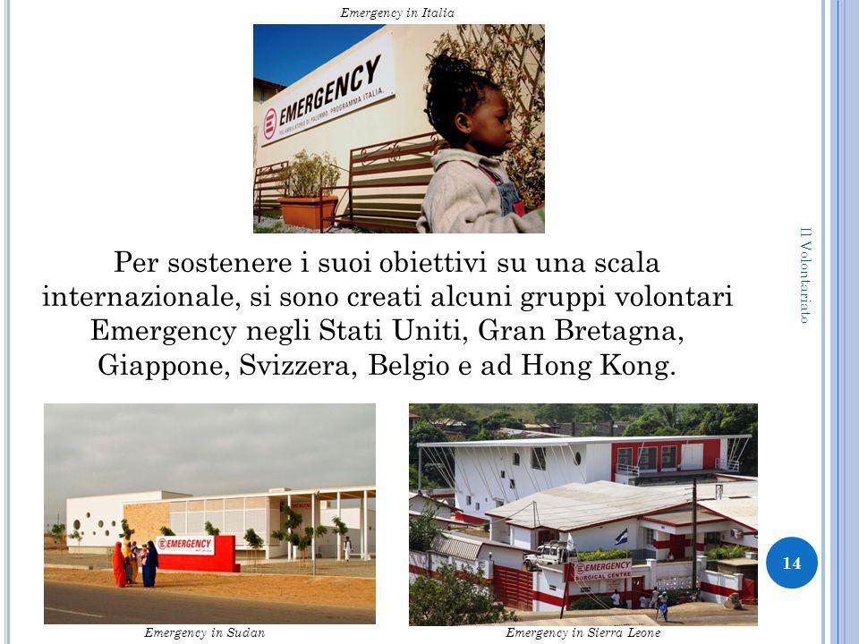 Per sostenere i suoi obiettivi su una scala internazionale, si sono creati alcuni gruppi volontari Emergency negli Stati Uniti, Gran Bretagna, Giappone, Svizzera, Belgio e ad Hong Kong.