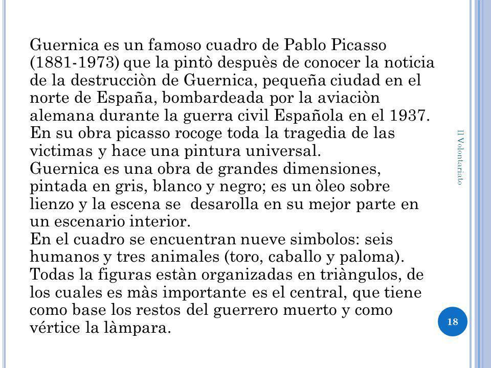 Guernica es un famoso cuadro de Pablo Picasso (1881-1973) que la pintò despuès de conocer la noticia de la destrucciòn de Guernica, pequeña ciudad en el norte de España, bombardeada por la aviaciòn alemana durante la guerra civil Española en el 1937.