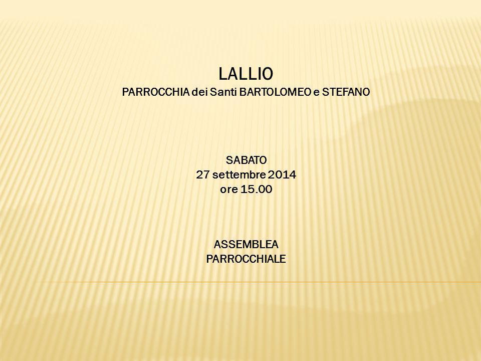 LALLIO PARROCCHIA dei Santi BARTOLOMEO e STEFANO SABATO 27 settembre 2014 ore 15.00 ASSEMBLEA PARROCCHIALE
