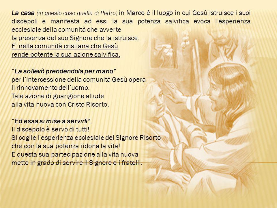 La casa (in questo caso quella di Pietro) in Marco è il luogo in cui Gesù istruisce i suoi discepoli e manifesta ad essi la sua potenza salvifica evoc