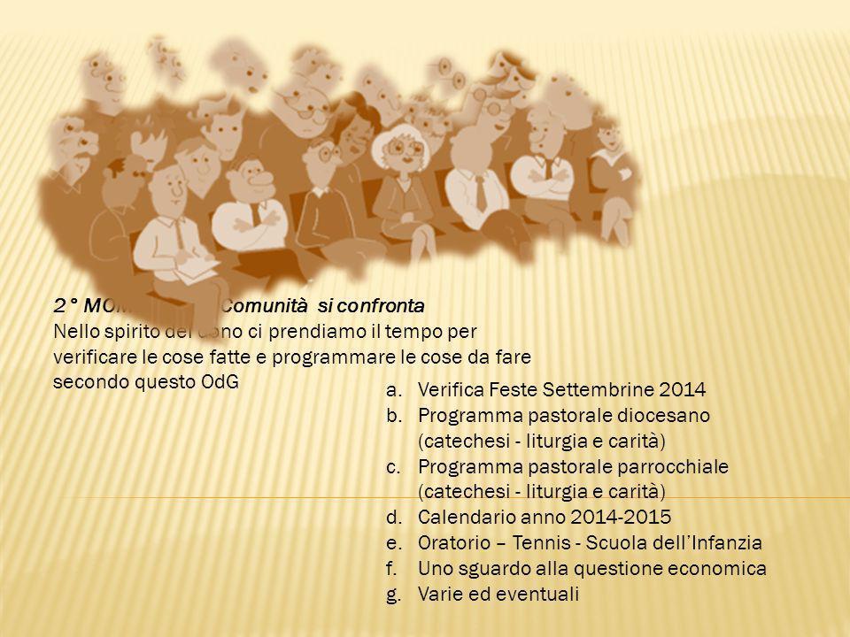 a.Verifica Feste Settembrine 2014 b.Programma pastorale diocesano (catechesi - liturgia e carità) c.Programma pastorale parrocchiale (catechesi - litu