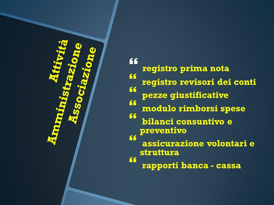 Attività A Associazione Attività A mministrazione Associazione   registro prima nota   registro revisori dei conti   pezze giustificative   mo