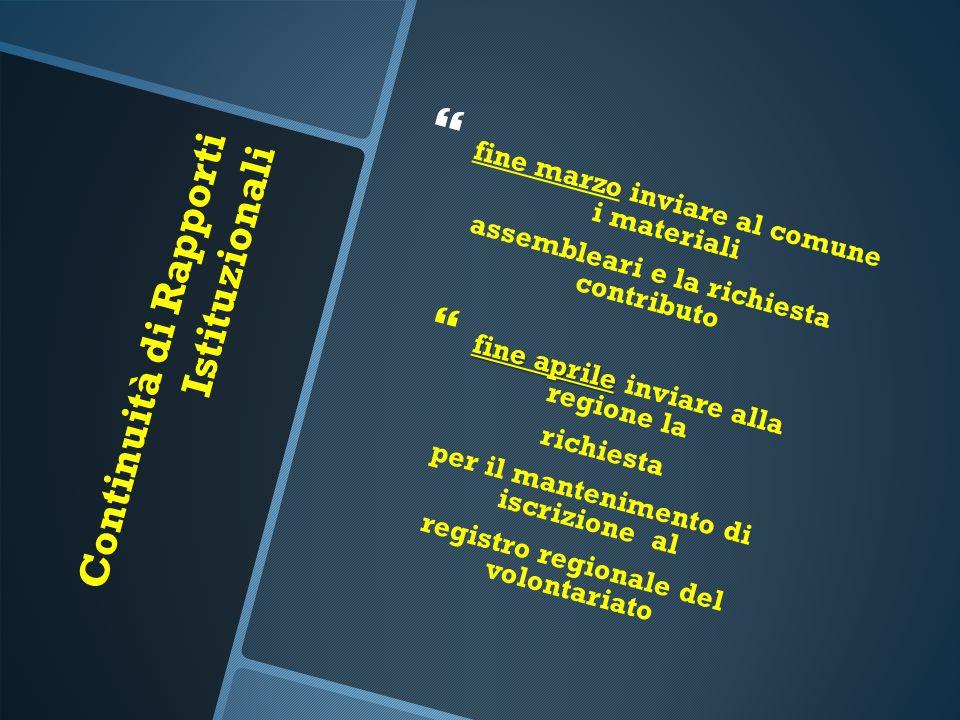 Continuità di Rapporti Istituzionali   fine marzo inviare al comune i materiali assembleari e la richiesta contributo  fine aprile  fine aprile in