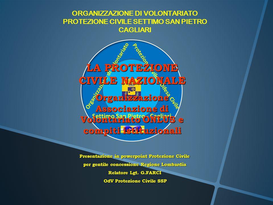 ORGANIZZAZIONE DI VOLONTARIATO PROTEZIONE CIVILE SETTIMO SAN PIETRO CAGLIARI LA PROTEZIONE CIVILE NAZIONALE Organizzazione Associazione di Volontariat