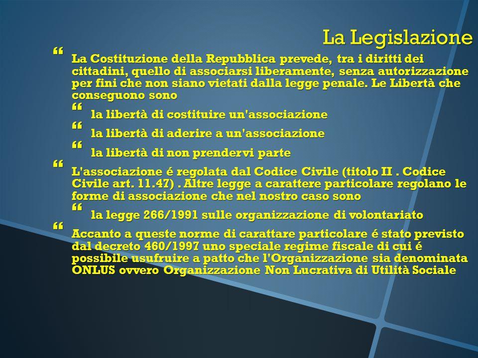 La Legislazione  La Costituzione della Repubblica prevede, tra i diritti dei cittadini, quello di associarsi liberamente, senza autorizzazione per fi