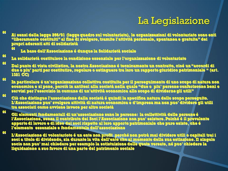 """La Legislazione  Ai sensi della legge 266/91 (legge quadro sul volontariato), le organizzazioni di volontariato sono enti """"liberamente costituiti"""" al"""