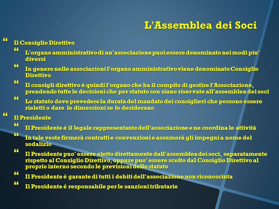 L'Assemblea dei Soci  Il Consiglio Direttivo  L'organo amministrativo di un'associazione puoì essere denominato nei modi piu' diversi  In genere ne