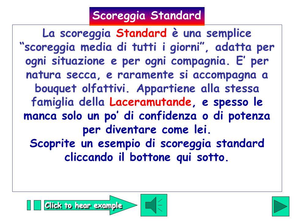 Click to hear example La scoreggia Standard è una semplice scoreggia media di tutti i giorni , adatta per ogni situazione e per ogni compagnia.
