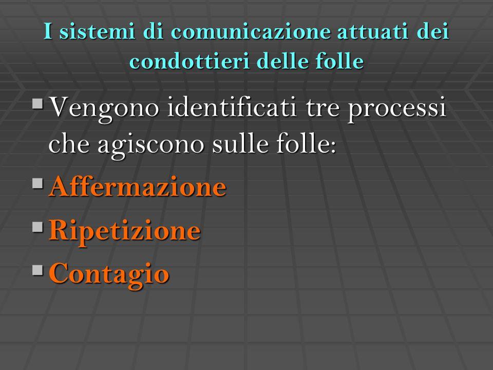 I sistemi di comunicazione attuati dei condottieri delle folle  Vengono identificati tre processi che agiscono sulle folle:  Affermazione  Ripetizi