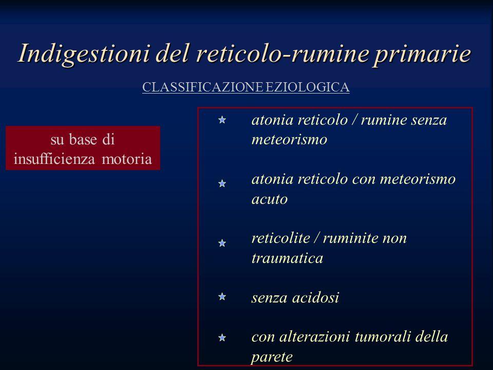 atonia reticolo / rumine senza meteorismo atonia reticolo con meteorismo acuto reticolite / ruminite non traumatica senza acidosi con alterazioni tumorali della parete Indigestioni del reticolo-rumine primarie CLASSIFICAZIONE EZIOLOGICA su base di insufficienza motoria