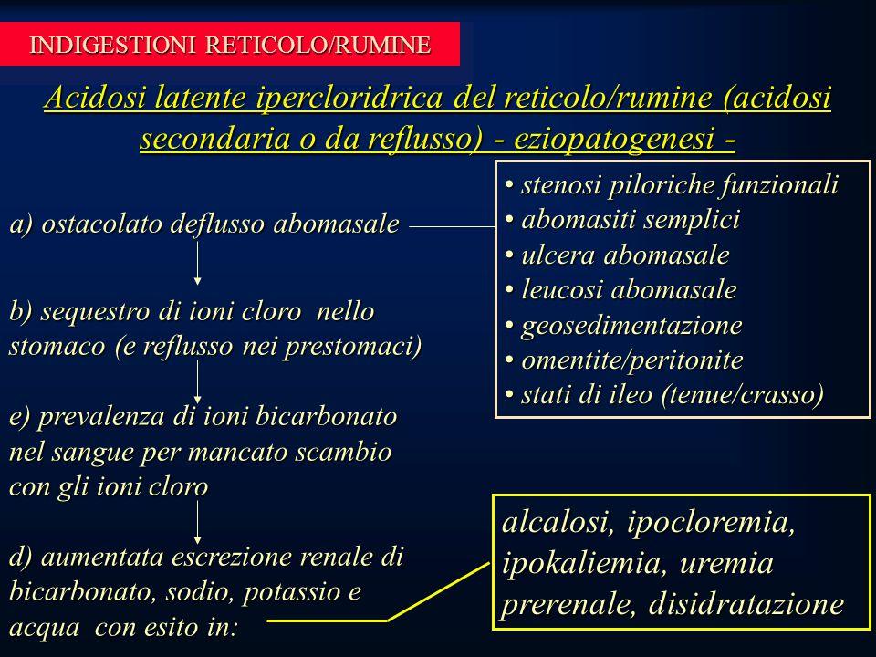 INDIGESTIONI RETICOLO/RUMINE Acidosi latente ipercloridrica del reticolo/rumine (acidosi secondaria o da reflusso) - eziopatogenesi - a) ostacolato deflusso abomasale b) sequestro di ioni cloro nello stomaco (e reflusso nei prestomaci) e) prevalenza di ioni bicarbonato nel sangue per mancato scambio con gli ioni cloro d) aumentata escrezione renale di bicarbonato, sodio, potassio e acqua con esito in: stenosi piloriche funzionali stenosi piloriche funzionali abomasiti semplici abomasiti semplici ulcera abomasale ulcera abomasale leucosi abomasale leucosi abomasale geosedimentazione geosedimentazione omentite/peritonite omentite/peritonite stati di ileo (tenue/crasso) stati di ileo (tenue/crasso) alcalosi, ipocloremia, ipokaliemia, uremia prerenale, disidratazione