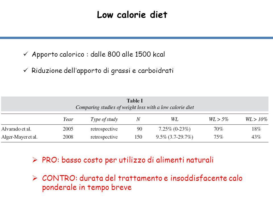 Low calorie diet Apporto calorico : dalle 800 alle 1500 kcal Riduzione dell'apporto di grassi e carboidrati  PRO: basso costo per utilizzo di aliment