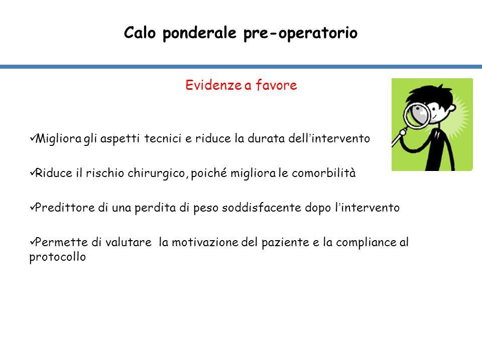 Qual è il miglior metodo per ottenere un calo ponderale pre-operatorio nei pazienti candidati a chirurgia bariatrica .