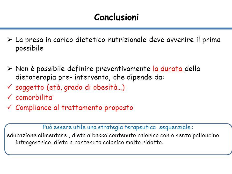  La presa in carico dietetico-nutrizionale deve avvenire il prima possibile  Non è possibile definire preventivamente la durata della dietoterapia p