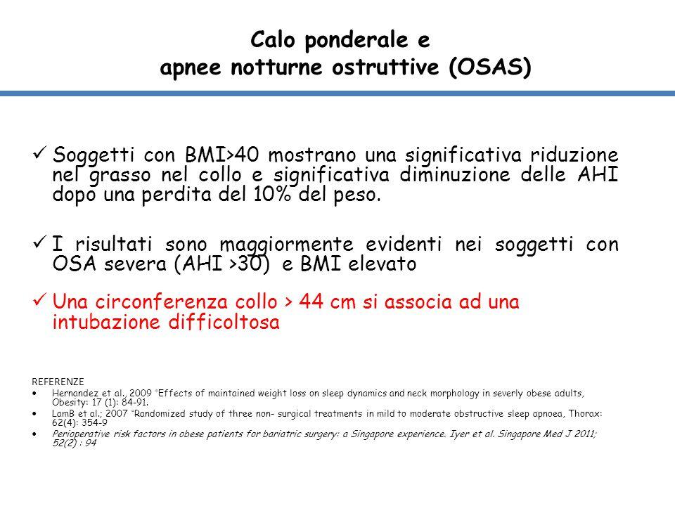 Calo ponderale e apnee notturne ostruttive (OSAS) Soggetti con BMI>40 mostrano una significativa riduzione nel grasso nel collo e significativa diminu