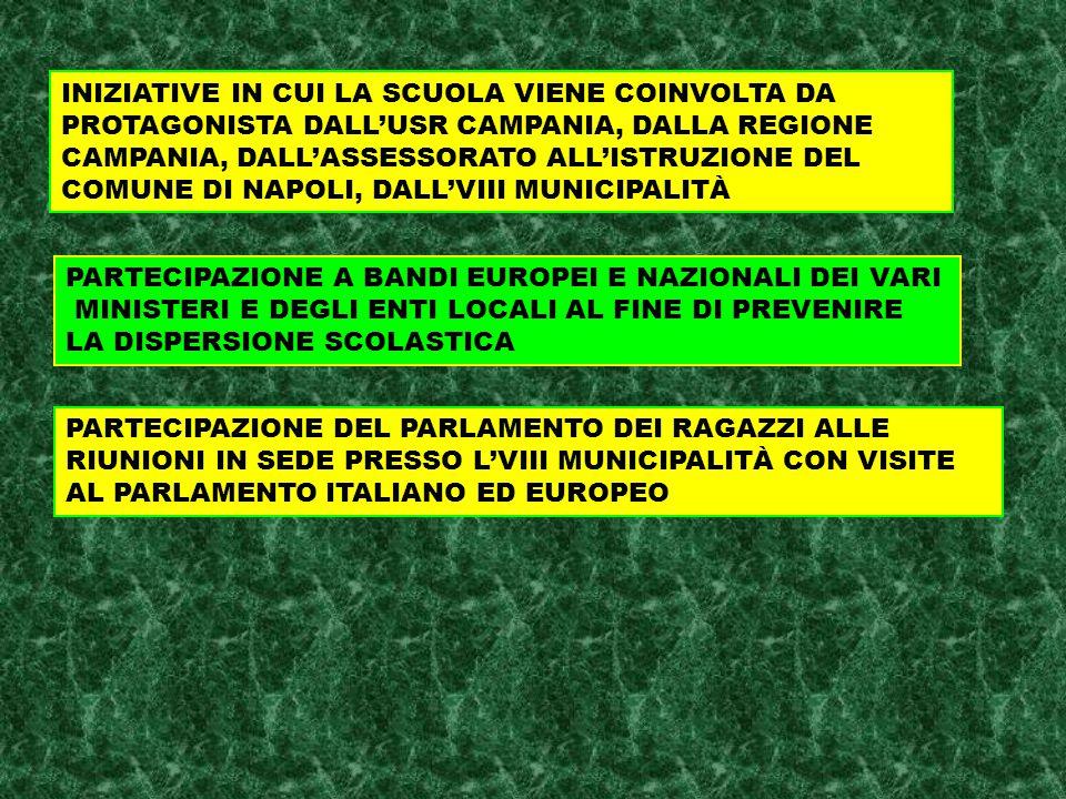 PARTECIPAZIONE DEL PARLAMENTO DEI RAGAZZI ALLE RIUNIONI IN SEDE PRESSO L'VIII MUNICIPALITÀ CON VISITE AL PARLAMENTO ITALIANO ED EUROPEO INIZIATIVE IN