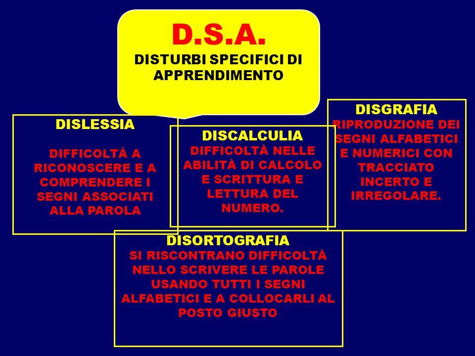 D.S.A. DISTURBI SPECIFICI DI APPRENDIMENTO DISLESSIA DIFFICOLTÀ A RICONOSCERE E A COMPRENDERE I SEGNI ASSOCIATI ALLA PAROLA DISORTOGRAFIA SI RISCONTRA
