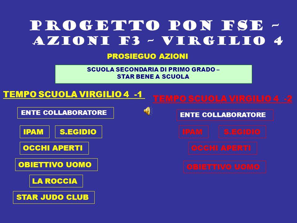 PROSIEGUO AZIONI PROGETTO PON FSE – AZIONI F3 – VIRGILIO 4 SCUOLA SECONDARIA DI PRIMO GRADO – STAR BENE A SCUOLA TEMPO SCUOLA VIRGILIO 4 -1 TEMPO SCUO