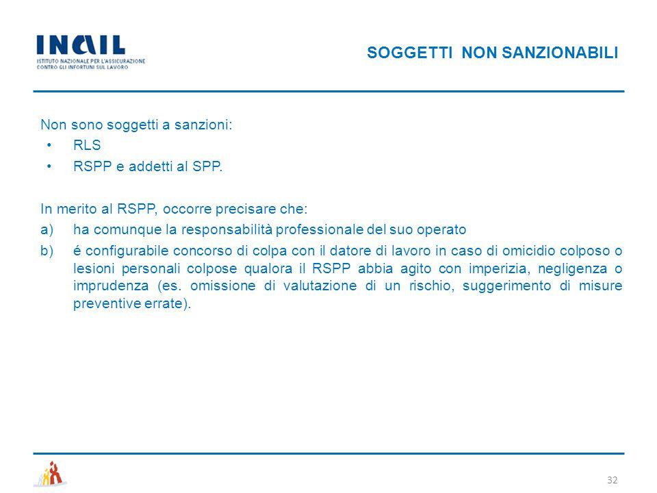 SOGGETTI NON SANZIONABILI 32 Non sono soggetti a sanzioni: RLS RSPP e addetti al SPP. In merito al RSPP, occorre precisare che: a)ha comunque la respo