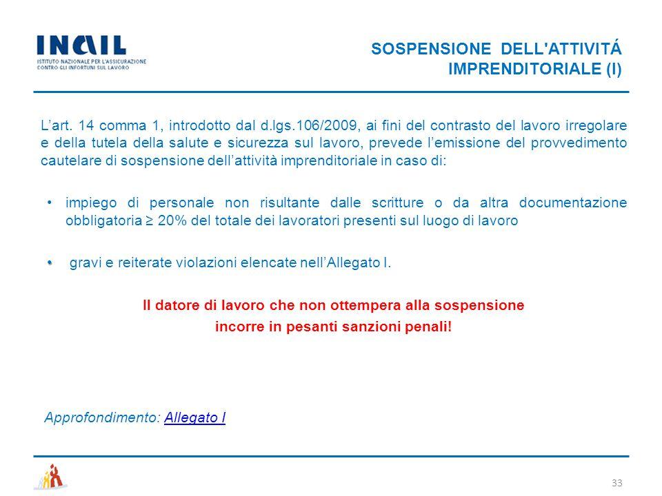 SOSPENSIONE DELL'ATTIVITÁ IMPRENDITORIALE (I) 33 L'art. 14 comma 1, introdotto dal d.lgs.106/2009, ai fini del contrasto del lavoro irregolare e della