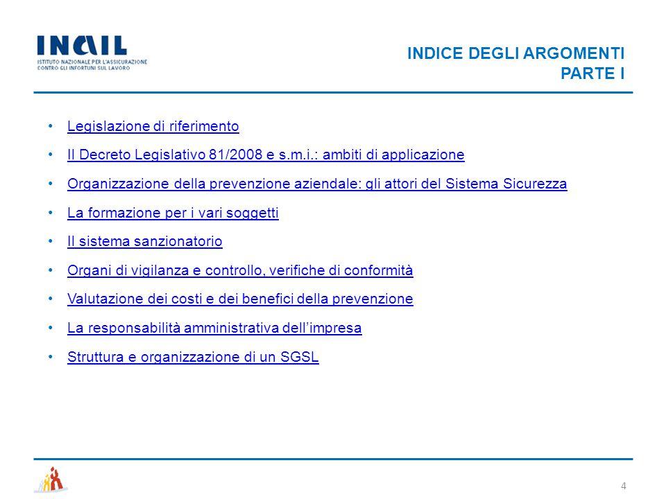 INDICE DEGLI ARGOMENTI PARTE I 4 Legislazione di riferimento Il Decreto Legislativo 81/2008 e s.m.i.: ambiti di applicazione Organizzazione della prev