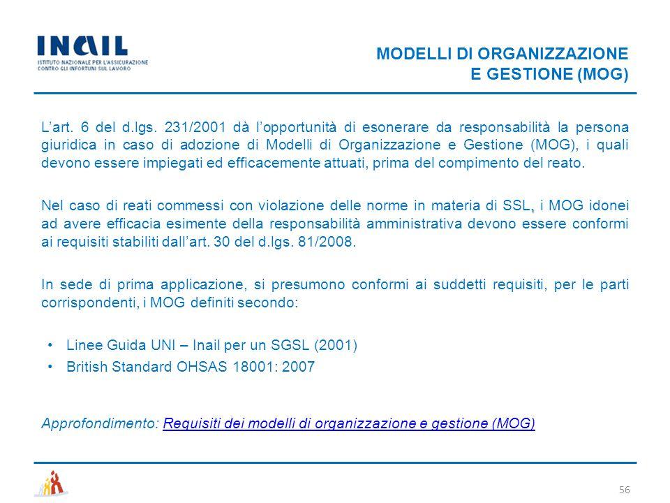 MODELLI DI ORGANIZZAZIONE E GESTIONE (MOG) 56 L'art. 6 del d.lgs. 231/2001 dà l'opportunità di esonerare da responsabilità la persona giuridica in cas