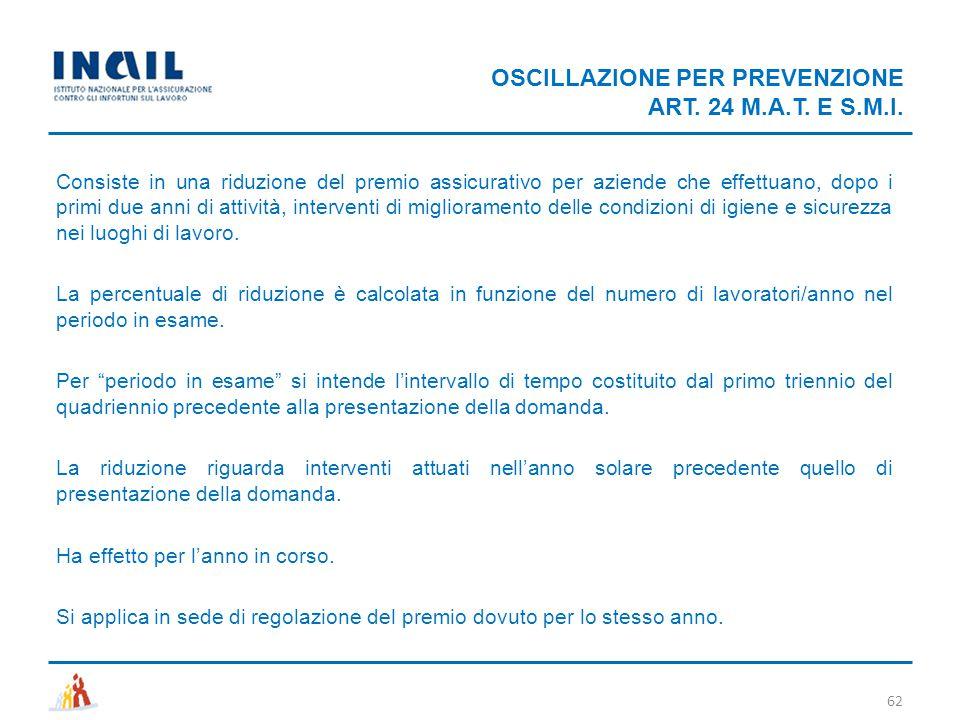 OSCILLAZIONE PER PREVENZIONE ART. 24 M.A.T. E S.M.I. 62 Consiste in una riduzione del premio assicurativo per aziende che effettuano, dopo i primi due