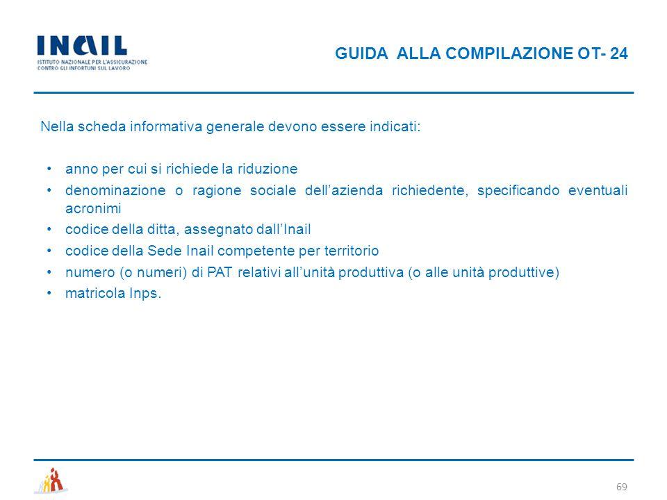 GUIDA ALLA COMPILAZIONE OT- 24 69 Nella scheda informativa generale devono essere indicati: anno per cui si richiede la riduzione denominazione o ragi