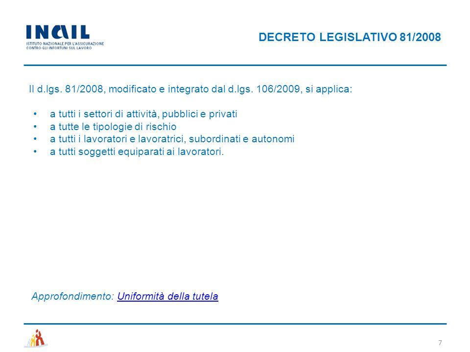 Il d.lgs. 81/2008, modificato e integrato dal d.lgs. 106/2009, si applica: a tutti i settori di attività, pubblici e privati a tutte le tipologie di r