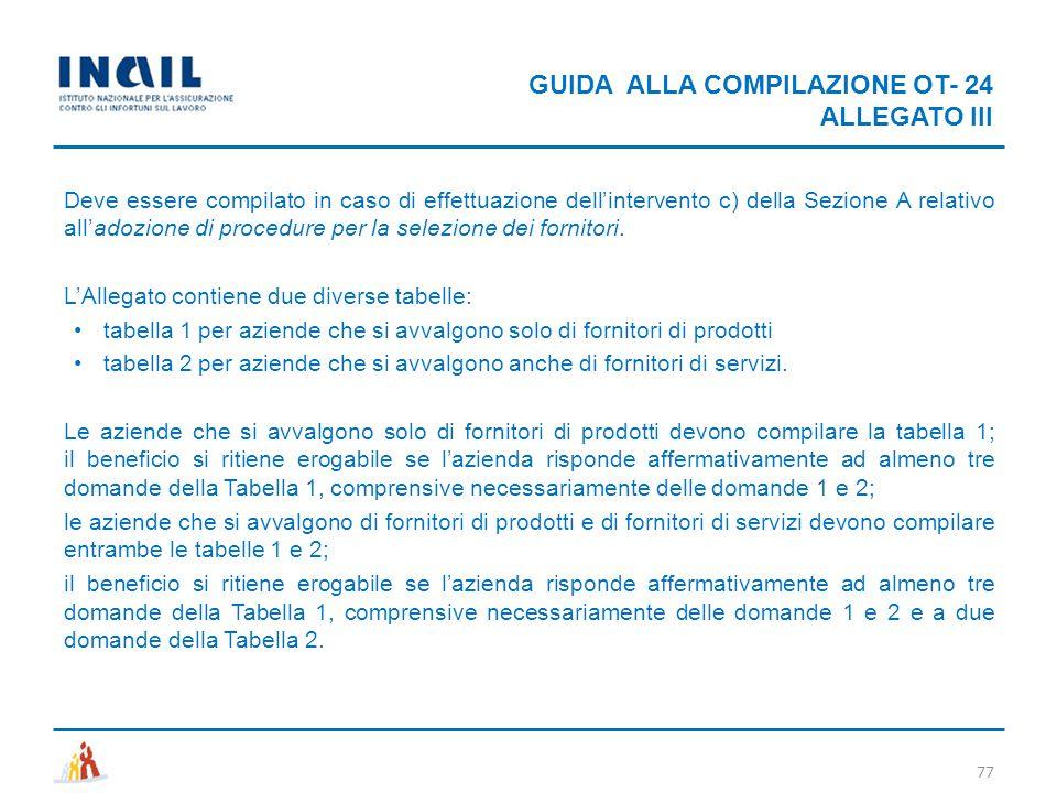 GUIDA ALLA COMPILAZIONE OT- 24 ALLEGATO III 77 Deve essere compilato in caso di effettuazione dell'intervento c) della Sezione A relativo all'adozione