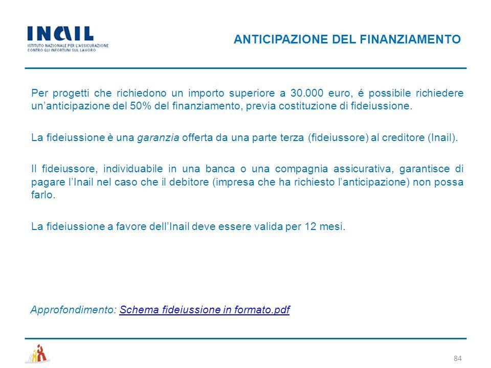 84 Per progetti che richiedono un importo superiore a 30.000 euro, é possibile richiedere un'anticipazione del 50% del finanziamento, previa costituzi