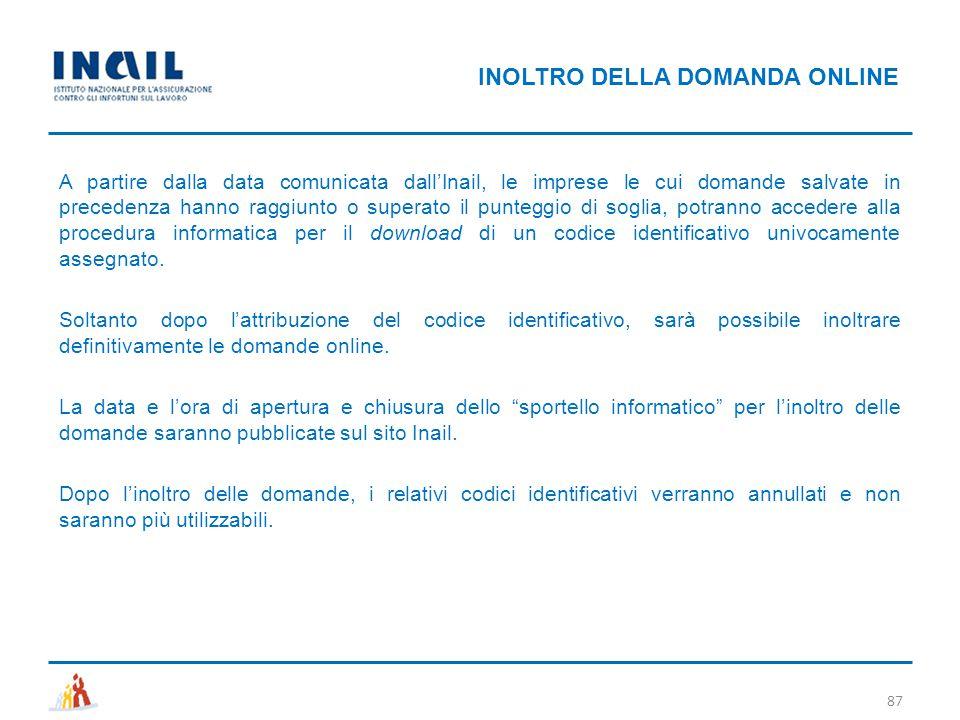 A partire dalla data comunicata dall'Inail, le imprese le cui domande salvate in precedenza hanno raggiunto o superato il punteggio di soglia, potrann