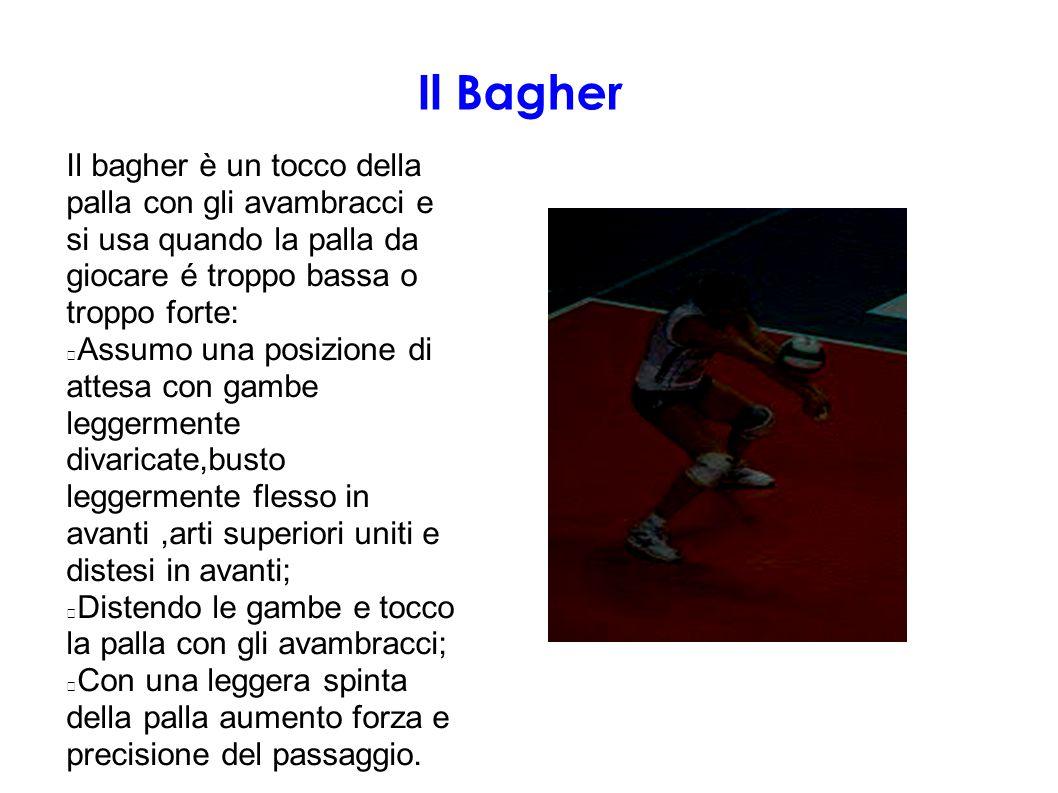 Il Bagher Il bagher è un tocco della palla con gli avambracci e si usa quando la palla da giocare é troppo bassa o troppo forte: Assumo una posizione