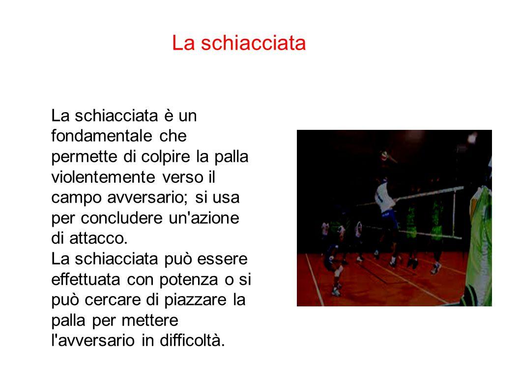 La schiacciata La schiacciata è un fondamentale che permette di colpire la palla violentemente verso il campo avversario; si usa per concludere un'azi