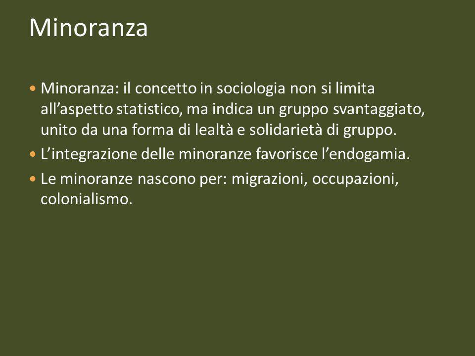 Minoranza Minoranza: il concetto in sociologia non si limita all'aspetto statistico, ma indica un gruppo svantaggiato, unito da una forma di lealtà e