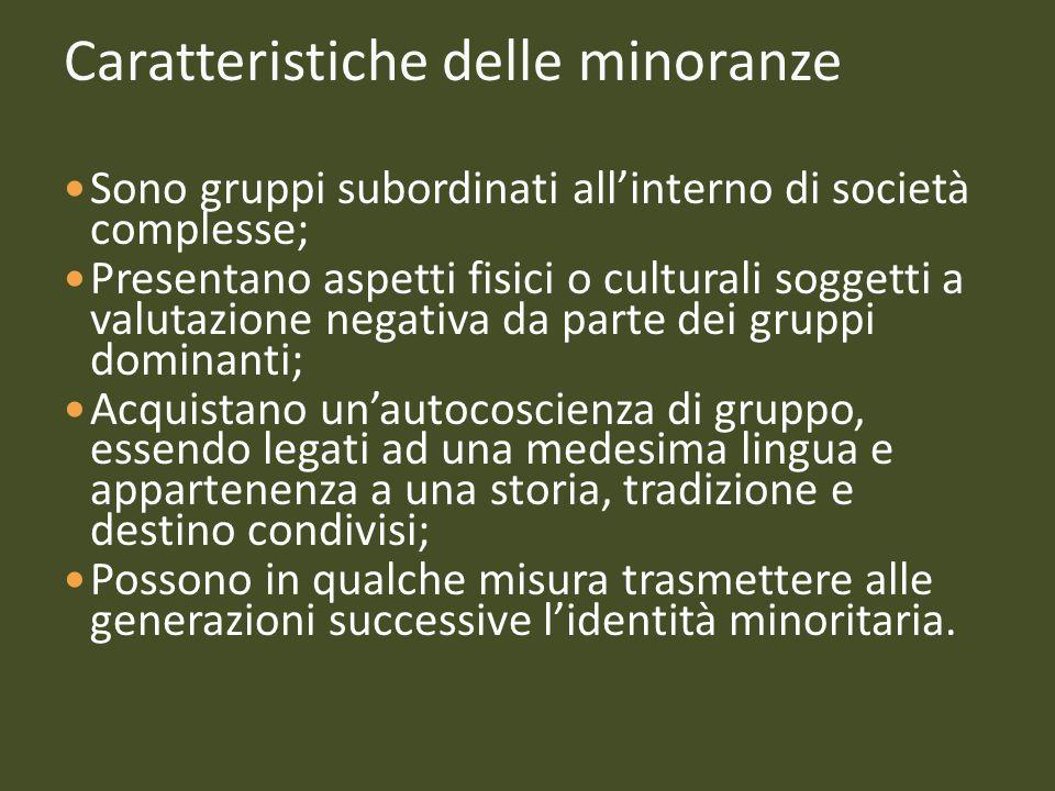 Caratteristiche delle minoranze Sono gruppi subordinati all'interno di società complesse; Presentano aspetti fisici o culturali soggetti a valutazione