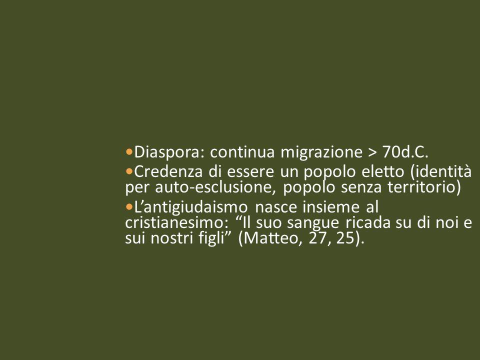 Diaspora: continua migrazione > 70d.C. Credenza di essere un popolo eletto (identità per auto-esclusione, popolo senza territorio) L'antigiudaismo nas