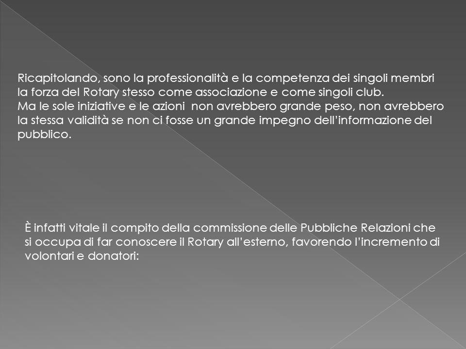 Ricapitolando, sono la professionalità e la competenza dei singoli membri la forza del Rotary stesso come associazione e come singoli club.